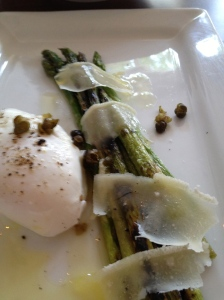 Grilled asparagus:6 minute egg, fried capers