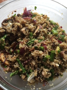 Quinoa with mushrooms, asparagus, feta